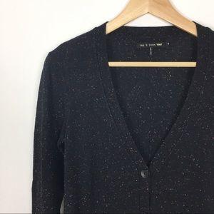 Rag & Bone knit black colorful heather cardigan